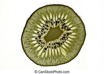 Kiwi slice, white background