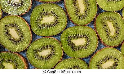 kiwi slices juicy-top view