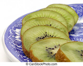 Kiwi slices on a plate