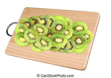 Kiwi slices on cutting board isolated on white background