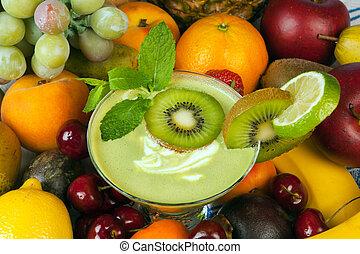 kiwi, smoothie, et, autre, fruit