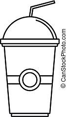 Kiwi smoothie icon, outline style