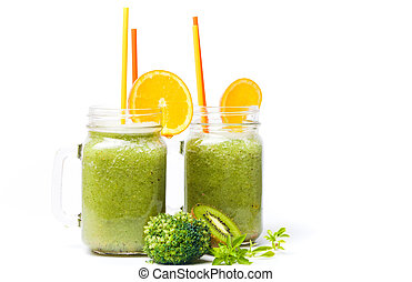 Kiwi smoothie in a jar isolated
