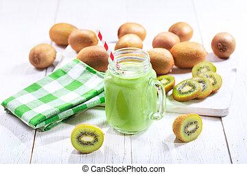 kiwi, smoothie, jarro