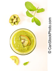 kiwi smoothie on white background