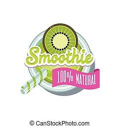 Kiwi Smoothie. Vector Illustration