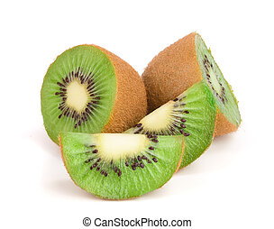 kiwi, snede, vrijstaand, fruit, achtergrond, fris, witte