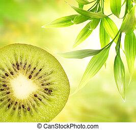 kiwi, sobre, abstrato verde, fundo