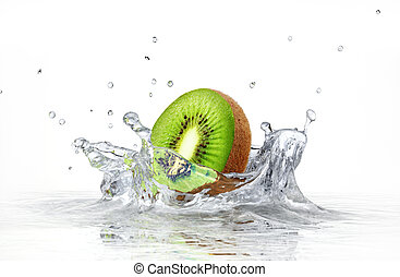 kiwi splashing into clear water on white background.
