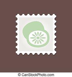 Kiwi stamp. Outline vector illustration