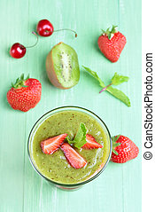 Kiwi strawberry layered dessert - Kiwi strawberry smoothie...