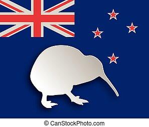 kiwi, su, bandiera
