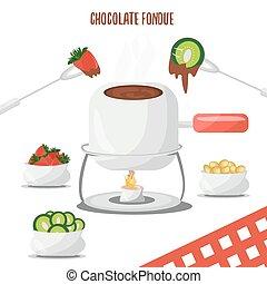kiwi, uvas, evening., fondue, ilustración, chocolate,...