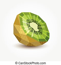 kiwi, vector, illustration., polígono