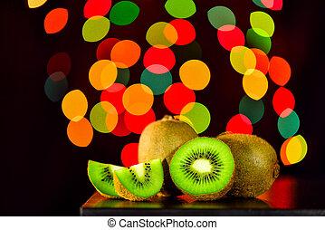 kiwi, vie, lowkey, fruit, bokeh, fond, table, encore