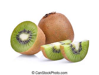 kiwi, vrijstaand, achtergrond., fruit, fris, witte
