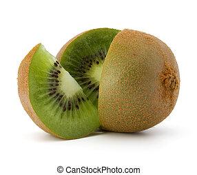 kiwi, vrijstaand, afgesnijdenene, fruit, achtergrond, witte , cutout