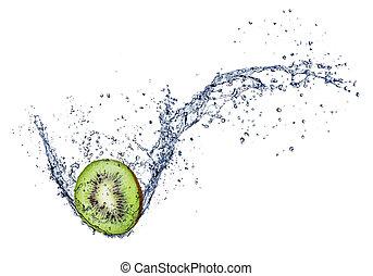 kiwi, vrijstaand, water, gespetter, achtergrond, witte