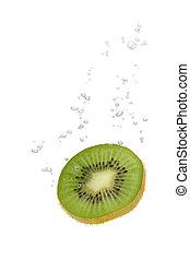 kiwi, wasser, im, mit, luftblasen