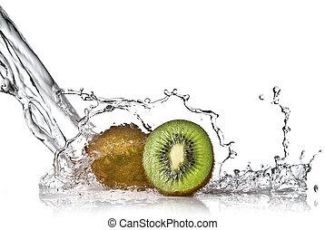 kiwi, water, witte , gespetter, vrijstaand