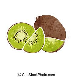 kiwi watercolor painting