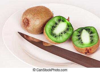 kiwi, weißes, schnitt