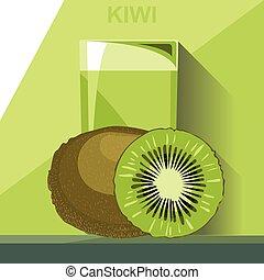 kiwi, whol, vert, jus, verre