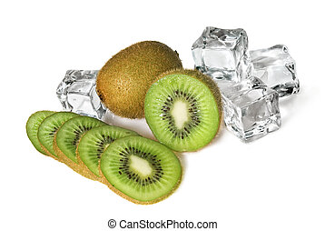 kiwi with ice cubes isolated on white