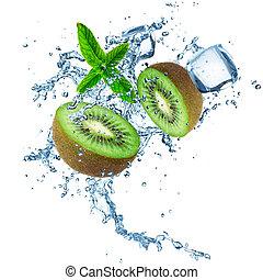 Kiwi with water splash