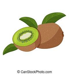 kiwi, witte , groene, vrijstaand, bladeren, achtergrond., vers fruit, illustration.