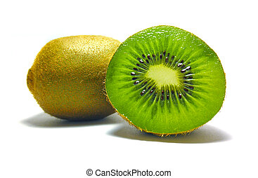 kiwi, witte , vrijstaand, achtergrond, stukken
