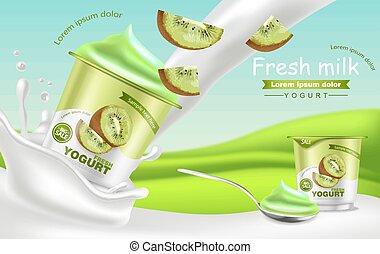 Kiwi yogurt Vector realistic. Product placement mock up. Fresh yogurt splash with fruits. Label design. 3d detailed illustrations