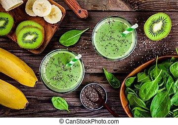 kiwi, Zalamero, sano, espinaca, vidrio, semillas, verde, plátano,  chia, tarros