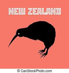 kiwi, zealand, símbolo, pájaro, nuevo
