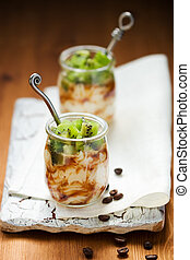 kiwi,coffee and ricotta dessert - Ricotta cream with fresh...