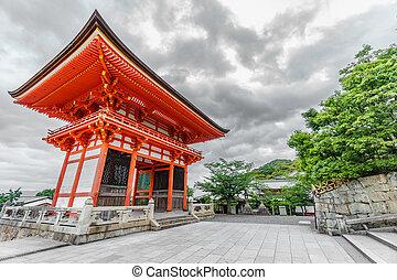 kiyomizu-dera, eingang, himmelsgewölbe, tempel, bewölkt