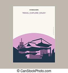 kiyomizu-dera, estilo, cartel, kyoto, plantilla, vendimia, ...