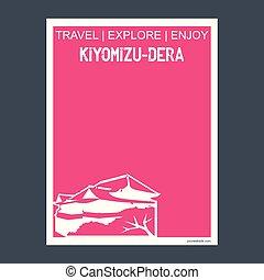 kiyomizu-dera, estilo, plano, tipografía, kyoto, señal, ...