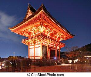 Kiyomizu-dera Gate - Kiyomizu-dera gate at night in Kyoto,...