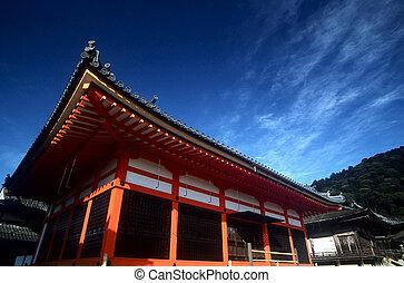 Kiyomizu dera, Kyoto - Kiyomizu dera temple with blue sky in...