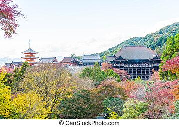 Kiyomizu or Kiyomizu-dera temple in autum season at Kyoto.