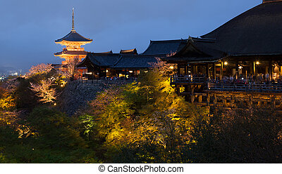 Kiyomizu temple at night in Kyoto, Japan