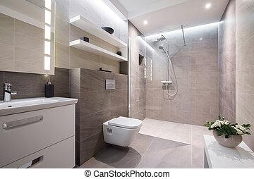 kizárólagos, fürdőszoba, modern