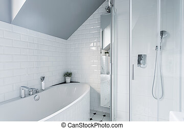 kizárólagos, fehér, fürdőszoba