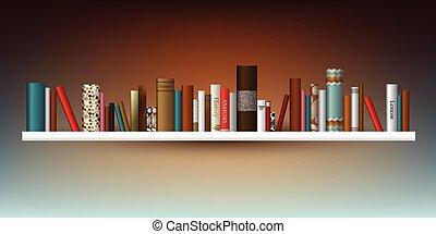kizárólagos, illustration., shelf., indoor., könyv,...