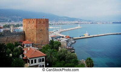 Kizil Kule - Red Tower, the symbol of Alanya, Turkey