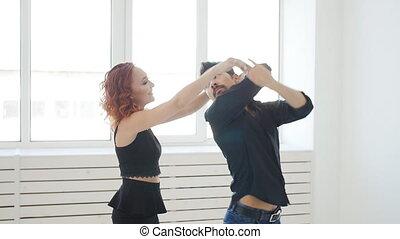kizomba, beauté, danse, danse, couple, jeune, ou, room., social, blanc, taraxia, bachata, semba