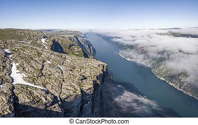 kjerag, lysefjorden, aéreo, planalto, vista