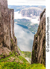 kjerag, montanha, lysefjord, vista