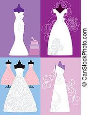 kjoler, brude, klæde bryllup
